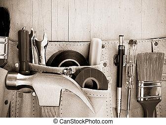 木制, 建設, 工具, 背景, 腰帶