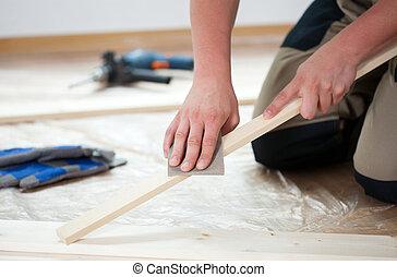 木制, 擦亮, 板條, 沙紙, 使用
