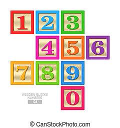 木制, 數字, 塊