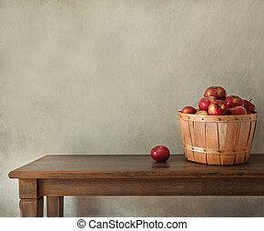 木制, 新鮮的苹果, 桌子