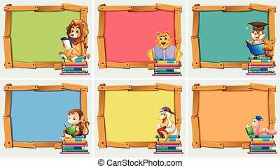 木制, 框架, 書, 動物, 閱讀