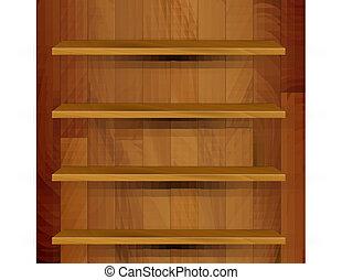 木制, 現實, 矢量, 空, 書櫥