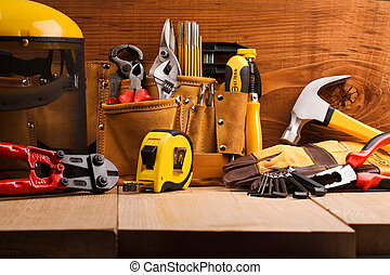 木制, 集合, 工具, 板, 工作