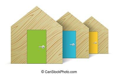 木制, row., 摘要, 站立, 房子
