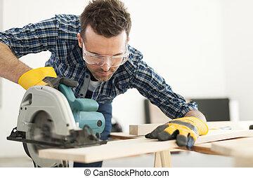 木匠, 切, 工作, 木制的支架, 努力