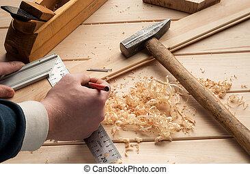 木匠, 刨, 在上方, 飛機, 木頭, 工具, 米, 桌子, 錘子, 釘子