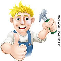 木匠, 建設, 或者, g, 卡通
