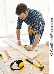 木匠, 木制, 定尺寸, 板條, 檢查