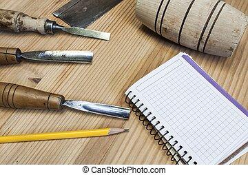 木匠, 紙, 背景, 木頭, 工具, 桌子, 鑿子, 錘子