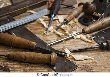 木匠, 背景, 木頭, 工具, 米, 桌子, 鑿子