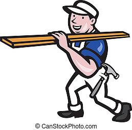 木材, 運載, 工人, 卡通, 木匠