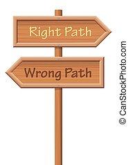 木製的路徑, 錯誤, 權利, guidepost