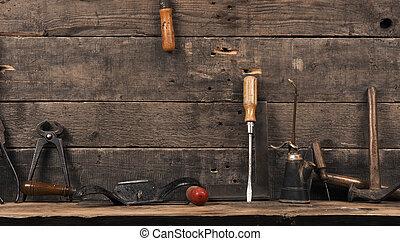 木頭, 使用, 老, 木匠, 工具