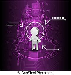 未來, 技術, 人類, 背景, 數字