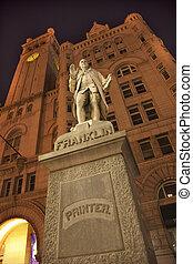 本杰明, 建築物, 老, 雕像, 辦公室, 賓夕法尼亞, 華盛頓特區, 鄉紳, 星, 夜晚, ave, 郵寄