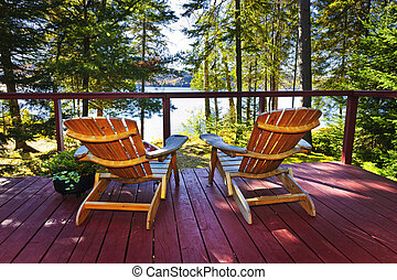 村舍, 椅子, 森林, 甲板