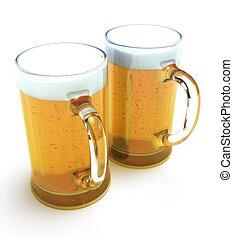 杯子, 啤酒, 二
