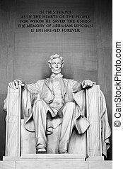 林肯;亞伯拉罕, 華盛頓, 紀念館, dc