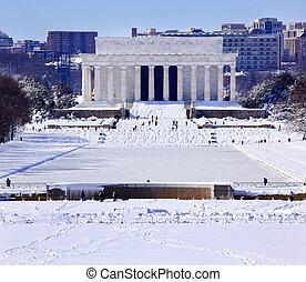 林肯, 以後, 華盛頓, 雪, dc, 紀念館