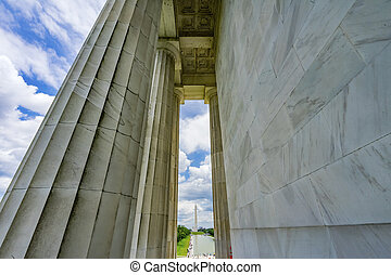 林肯, 專欄, 華盛頓, 紀念館, 高, 紀念碑, dc