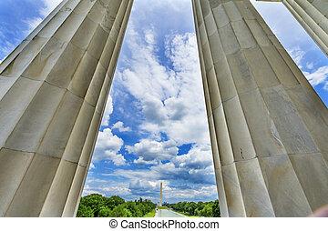 林肯, 州議會大廈, 華盛頓特區, 紀念館, 小山, 紀念碑, 高, 專欄