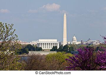 林肯, 州議會大廈, 陽光普照, 開花, 華盛頓特區, 后來, 地平線, 下午, 紀念碑, 紀念館, redbud, 天, 看法