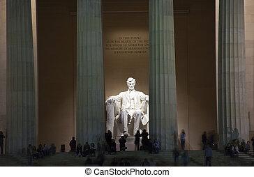 林肯, 晚上, 華盛頓, 紀念館, dc, 雕像
