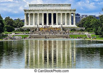 林肯, 華盛頓, 紀念館, 亞伯拉罕, 反射, 反映, 池, dc