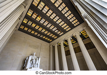 林肯, 華盛頓, 紀念館, dc, 雕像, 亞伯拉罕