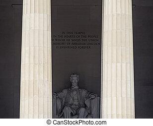 林肯, 華盛頓, 紀念館, dc, 雕像, 高, 亞伯拉罕, 專欄