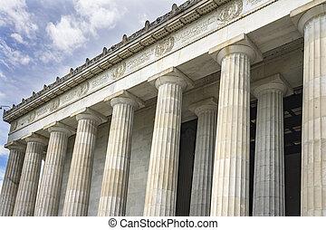 林肯, 華盛頓, 紀念館, dc, 高, 亞伯拉罕, 專欄