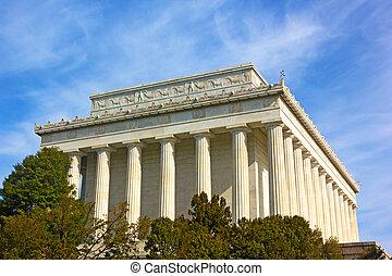 林肯, usa., 春天, 華盛頓特區, 紀念館, 陽光普照, 外部, morning.