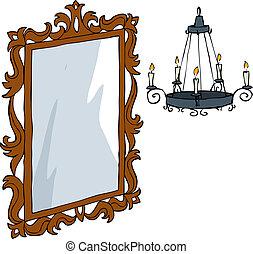 枝形吊燈, 鏡子