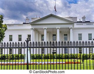 柵欄, 賓夕法尼亞, 房子, 華盛頓特區, 黑色, ave, 白色