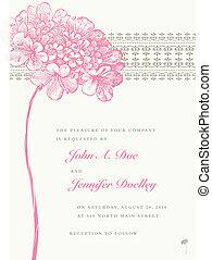 桃紅色 花, 框架, 矢量, 背景, 婚禮