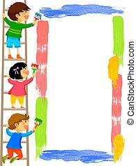 框架, 畫, 孩子