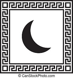 框架, 裝飾品, 月亮, 希臘語, 矢量, 圖象