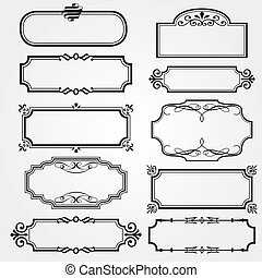 框架, 集合, 裝飾華麗, 矢量