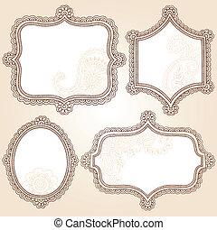 框架, doodles, 指甲花, 集合, 矢量
