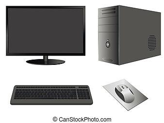 案件, 監控, 電腦 老鼠, 鍵盤