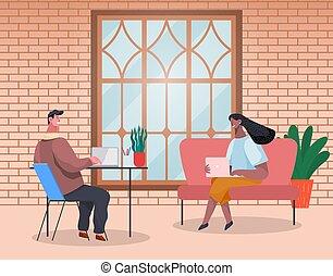 桌子, 事務, 筆記本電腦, 人們人, 婦女坐, 談話, 現代, 辦公室