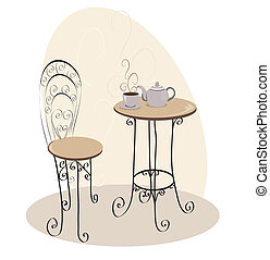 桌子, 咖啡館, 法語
