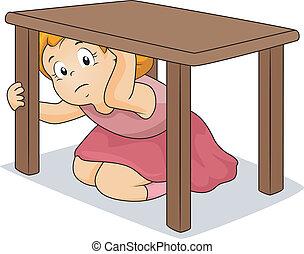 桌子, 女孩, 隱藏, 在下面