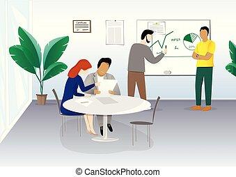 桌子, 插圖, 討論, 矢量, 計劃, 商業辦公室, 人們坐, 水平