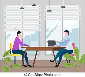 桌子, 辦公室。, 事務, 筆記本電腦, 坐, 字符, 人, 坐, 男性, 會議