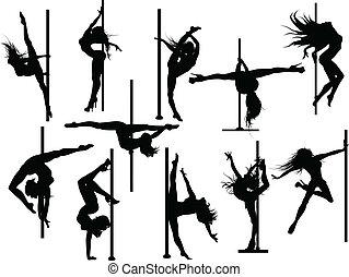 桿, 舞蹈演員, 黑色半面畫像