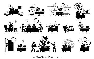 棍, icons., pictogram, 或者, 圖, 商人, 經理人, 工人, 辦公室, ceo, 忙