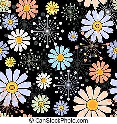 植物的模式, 黑色, seamless