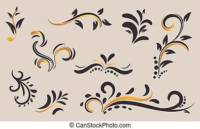 植物, 任何, 裝飾品, 容易, 手, 或者, 使用, colour., colour., 被隔离, vector., 畫, want., 主題, 卷發, 你, 變化, 金, 設計, 裝飾