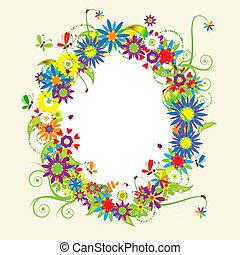 植物, 夏天, 插圖, 框架